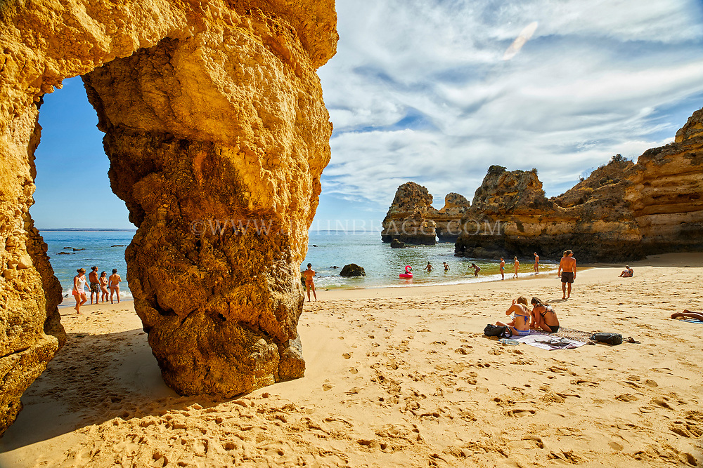 Camilo beach in the town of Lagos in the Algarve region of southern Portugal.