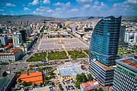 Mongolie, Oulan Bator, vue aerienne du centre ville, place Gengis Khan // Mongolia, Ulan Bator, aerial view of cityscape, Gengis Khan square