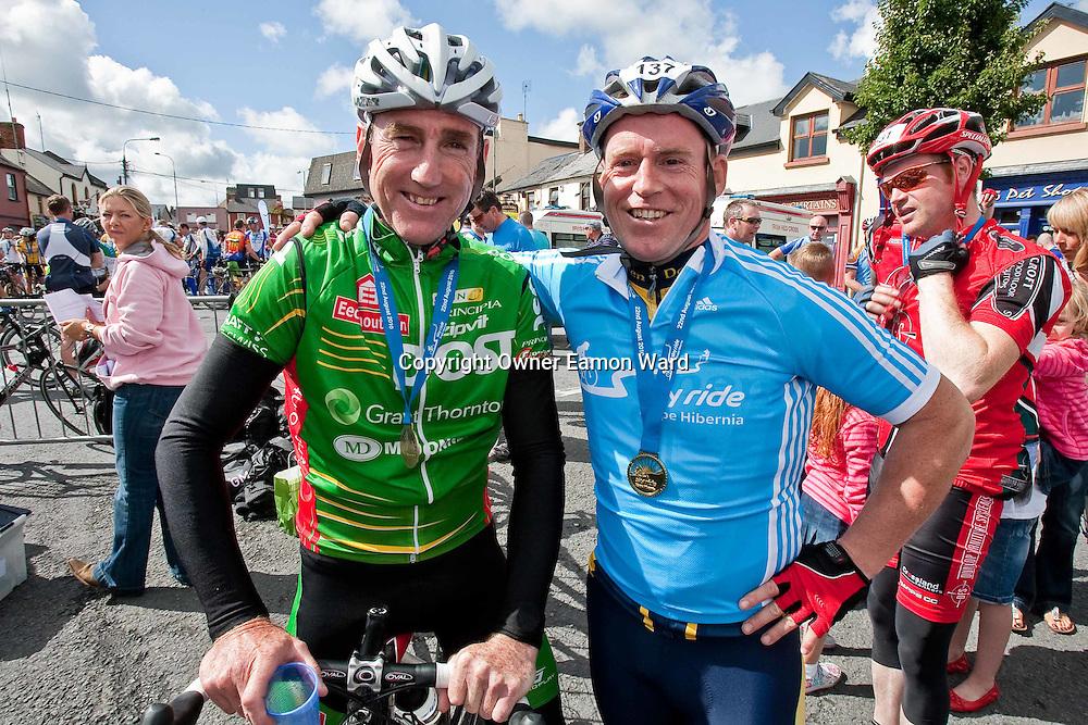 Sean Kelly with Philip Colleran,Ennis who won the Etap Hibernia Sky Ride in Ennis on Sunday. Photograph by Eamon Ward