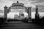 The entrance to the DC Comics Super Heroes Adventures area with Gotham City Hall in the background at Six Flags in East New Orleans - five years later after Hurricane Katrina.