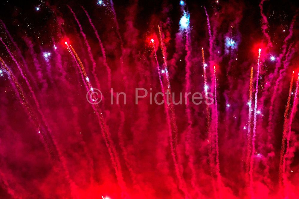Glastonbury Festival, 2015.<br /> To open the festival fire rituals and fireworks are launched from near the stone circle