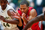 SHOT 1/28/12 4:16:01 PM - Colorado State's Greg Smith tries to box out San Diego State's Tim Shelton #10 during their regular season Mountain West conference game at Moby Arena in Fort Collins, Co. Colorado State upset 12th ranked San Diego State 77-60. (Photo by Marc Piscotty / © 2012)