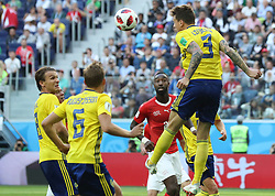SAINT PETERSBURG, July 3, 2018  Victor Lindelof (top) of Sweden competes for a header during the 2018 FIFA World Cup round of 16 match between Switzerland and Sweden in Saint Petersburg, Russia, July 3, 2018. Sweden won 1-0 and advanced to the quarter-final. (Credit Image: © Xu Zijian/Xinhua via ZUMA Wire)