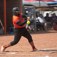 Katelyn Pablo bats for the Gallup Bengals during their NMAA Baseball State Championship semifinal game against the Miyamura Patriots Thursday in Gallup.