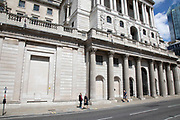 Bank of England in the City of London financial district is virtually deserted due to the Coronavirus outbreak as lockdown continues and people observe the stay at home message in the capital on 12th May 2020 in London, England, United Kingdom. Coronavirus or Covid-19 is a new respiratory illness that has not previously been seen in humans. While much or Europe has been placed into lockdown, the UK government has now announced a slight relaxation of the stringent rules as part of their long term strategy, and in particular social distancing.