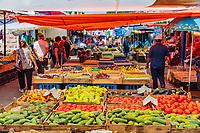 Gyumri , Armenia - August 15, 2019 : groceries stall at Myakowski street  market  landmark of Shirak