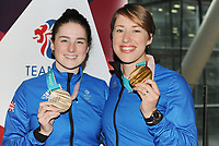 Team GB PyeongChang 2018 Winter Olympics Homecoming - Heathrow Airport, Terminal Five<br /> <br /> Lizzie Arnold and Izzy Atkin of GB with their Gold and Bronze medals  arrive home from the Games.<br /> <br /> COLORSPORT/ANDREW COWIE