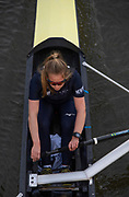 Putney, London, Varsity, 5th April 2019, OUWBC Blue Boat Bow, Isobel DODDS, Passing under Hammersmith Bridge, Oxford/Cambridge Media week, Championship Course,<br /> [Mandatory Credit: Karon PHILLIPS], Wednesday,  03/04/2019,