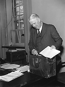8th May 1957<br /> <br /> Minister for Finance James Ryan on budget day.