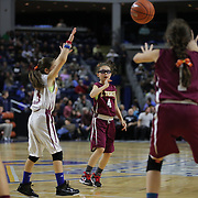 Young basketball players in action during the half time break during the UConn Vs DePaul, NCAA Women's College basketball game at Webster Bank Arena, Bridgeport, Connecticut, USA. 19th December 2014
