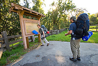 Checking out the trailhead map at Sykes Hots Springs, Big Sur, California.