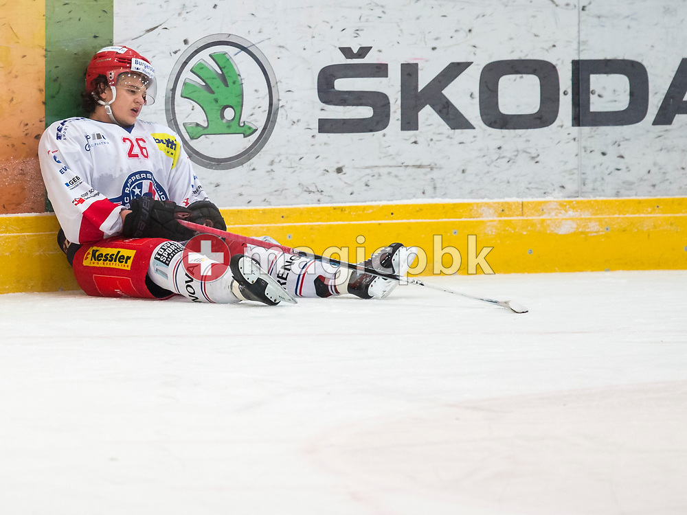 Rapperswil-Jona Lakers defenseman Janis Egger reacts after a 3-1 defeat in the fifth and final Elite A /B league qualification ice hockey game between HC Ambri-Piotta and Rapperswil-Jona Lakers in Ambri, Switzerland, Saturday, March 31, 2018. (Photo by Patrick B. Kraemer / MAGICPBK)