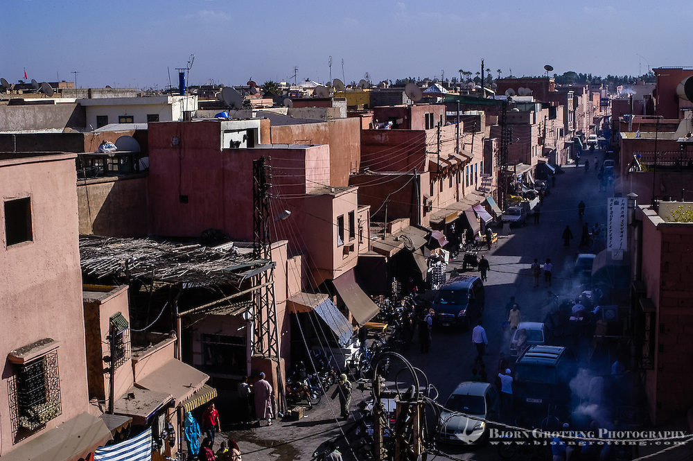 Morocco. Marrakesh medina in the area known as Kasbah. Street life on a hot day.