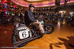 Eric Bass on his vintage Harley-Davidson Knucklehead at the Mama Tried Show. Milwaukee, WI. USA. Saturday February 24, 2018. Photography ©2018 Michael Lichter.
