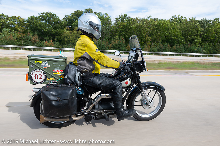 Brian Pease riding his 1938 Nimbus C (in a 52 frame) during the Cross Country Chase motorcycle endurance run from Sault Sainte Marie, MI to Key West, FL (for vintage bikes from 1930-1948). Stage 2 from Ludington, MI to Milwaukee, WI, USA. Saturday, September 7, 2019. Photography ©2019 Michael Lichter.