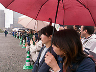 """April 30, 2019, Tokyo, Japan: This is the scene outside the gates of the Imperial Palace on the final day of the reigning Japanese Emperor Akihito. This was also the last day of Japan's Heisei Era which spanned from 1989 to April 30, 2019. Traditionally Japanese calendars years are based upon the years of emperor's reigns. The new era has been called 'Reiwa"""" era which starts on May 1, 2019 when Crown Prince Naruhito ascends to the throne."""