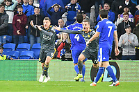 Football - 2018 / 2019 Premier League - Cardiff City vs. Leicester City<br /> <br /> Jamie Vardy of Leicester City & James Maddison  of Leicester City appeal for a penalty in Leicster's 1st match since the death of Vichai Srivaddhanaprabha, at Cardiff City Stadium.<br /> <br /> COLORSPORT/WINSTON BYNORTH