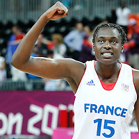 07 August 2012: France Jennifer Digbeu celebrates the win following 71-68 Team France victory over Team Czech Republic, during the women's basketball quarter-finals, at the Basketball Arena, in London, Great Britain.