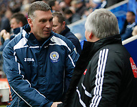 Photo: Steve Bond/Richard Lane Photography. Leicester City v Plymouth Albion. Coca Cola Championship. 21/11/2009. Nigel Pearson (L) shakes hands with Paul Sturrock (R)