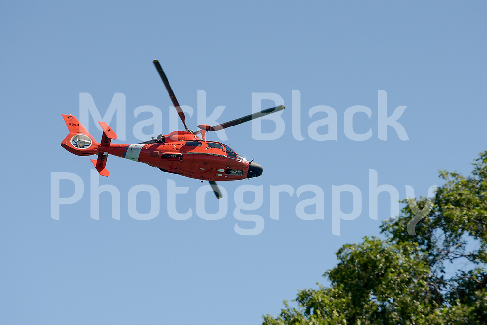 Coast Guard Helicopter flies along the lake front in Chicago, Illinois on Friday, Sept. 4, 2020. Photo by Mark Black