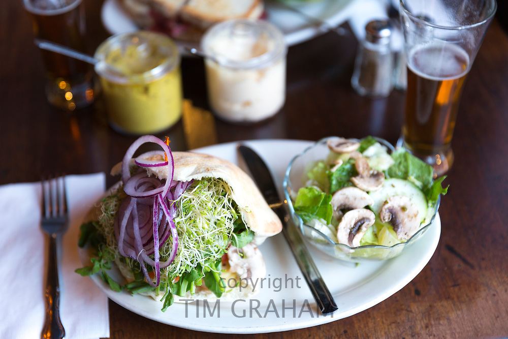 Giant deli bread sandwich with onion, mustard and cress and salad and beer at bar diner restaurant in Soho, New York, USA