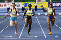 Photo: Rich Eaton.<br /> <br /> Norwich Union European Indoor Trials and UK Championships, Sheffield. 11/02/2007. Laura Turner left wins the womens 60 metres race ahead of Jeanette Kwakye (centre) and Joice Maduaka (right)