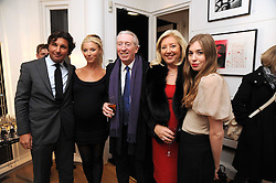 Left to right, GEORGE VERONI, his wife TAMARA BECKWITH, her parents PETER & PAULA BECKWITH and their granddaughter ANOUSKA BECKWITH at a private view of 'Most Wanted' an exhibition of photographs held at The Little Black Gallery, Park Walk, London on 27th November 2008.
