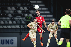 Alen Kozar of Mura and Patrick Mortensen of AGF Aarhus  during football match between NS Mura and AGF Aarhus in Second Round of UEFA Europa League Qualifications, on September 17, 2020 in Stadium Fazanerija, Murska Sobota, Slovenia. Photo by Blaz Weindorfer / Sportida