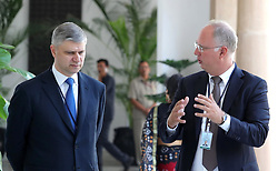 October 5, 2018 - New Delhi, India - October 5, 2018. - India, New Delhi. - Russian Railways CEO - Chairman of the Executive Board Oleg Belozyorov (left) and Russian Direct Investment Fund (RDIF) CEO Kirill Dmitriev during Russian-Indian talks at the Hyderabad House. (Credit Image: © face to face via ZUMA Press)
