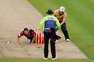 Darren Maddy of Warwickshire is run out by Glamorgan's Dean Cosker. Friends Life T20 match, Glamorgan Dragons v Warwickshire Bears at the Swalec stadium in Cardiff, South Wales on Sunday 17th June 2012. pic by Andrew Orchard, Andrew Orchard sports photography,