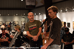 Custom builder Jay Donovan of British Columbia speaking about his Yamaha XS-650 on display at the Old Iron - Young Blood exhibition media and industry reception in the Motorcycles as Art gallery at the Buffalo Chip during the annual Sturgis Black Hills Motorcycle Rally. Sturgis, SD. USA. Sunday August 6, 2017. Photography ©2017 Michael Lichter.