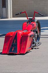 Lupe Aguayo's custom bagger at Westworld during Arizona Bike Week 2014. USA. April 6, 2014.  Photography ©2014 Michael Lichter.