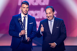Jan Mlakar of NK Maribor with trophy for best young player in Prva Liga Telekom Slovenije and Franci Zavrl vice president of NZS during SPINS XI Nogometna Gala 2019 event when presented best football players of Prva liga Telekom Slovenije in season 2018/19, on May 19, 2019 in Slovene National Theatre Opera and Ballet Ljubljana, Slovenia. Photo by Grega Valancic / Sportida.com