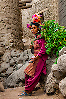 "Women of the Brokpa tribe in the remote Dahanu Valley. The valley is known as the ""Land of the Aryans"" as the people there are considered the purest descendants of the ancient Indo-Europeans; Ladakh; Jammu and Kashmir State; India."