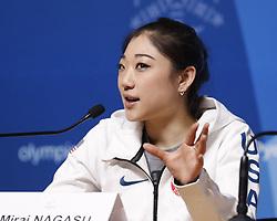 February 18, 2018 - Pyeongchang, KOREA - United States figure skater Marai Nagasu at press conference during the Pyeongchang 2018 Olympic Winter Games. (Credit Image: © David McIntyre via ZUMA Wire)