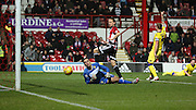 Brentford striker Lasse Vibe just shooting wide during the Sky Bet Championship match between Brentford and Leeds United at Griffin Park, London, England on 26 January 2016. Photo by Matthew Redman.