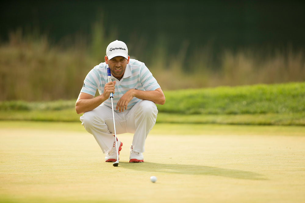 FARMINGDALE, NY - AUGUST 25:  TSergio Garcia of Spain lines up a putt during the third round of the 2012 Barclays at the Black Course at Bethpage State Park in Farmingale, New York on August 25, 2012. (Photograph ©2012 Darren Carroll) *** Local Caption *** Sergio Garcia