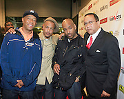"""Russell Simmons, T.I. , DJ Toomp and Dr. Ben Chavis at The Hip Hop Research and Education Fund(HREF), PowerPAC and the HipHop Summit Action Network (HSAN) present the national """"HipHop Team Vote: Turn Up the Vote"""" campaign event held at Temple University's Liacouras Center Arena on April 20, 2008 ..The HipHop Team Voe: Turn up the Vote brings together hiphop stars and community activists to send a strong, clear message to 18-35 year olds about the importance of voting in the Pennsylvania primary and national presidential election."""