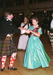 HRH PRINCESS MARGARET dancing  the Dashing White Sergeant Set Reel with the EARL OF ERROLL at a ball in London on May 1st 1997.LYB 19