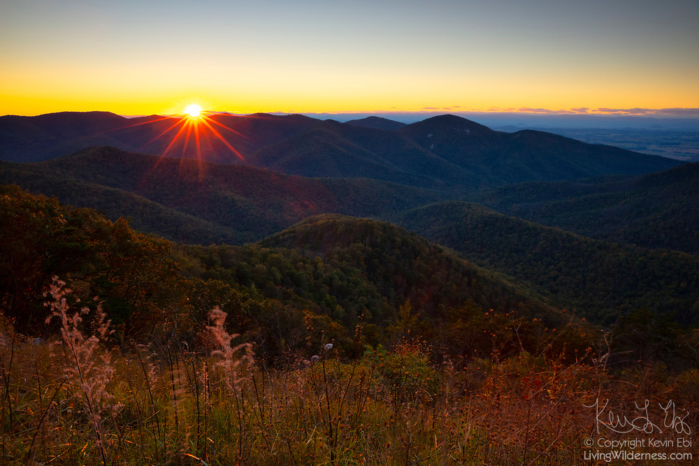 The sun sets in a gap between peaks over the Big Run Basin, the largest single watershed in Shenandoah National Park, Virginia.