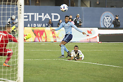 March 11, 2018 - New York, New York, United States - Rodney Wallace (23) of NYC FC shoots ball at goal during regular MLS game against LA Galaxy at Yankee stadium NYC FC won 2 - 1 (Credit Image: © Lev Radin/Pacific Press via ZUMA Wire)