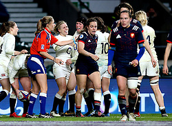 Danielle Waterman of England celebrates with teammates after scoring a try - Mandatory by-line: Robbie Stephenson/JMP - 04/02/2017 - RUGBY - Twickenham - London, England - England v France - Women's Six Nations