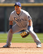CHICAGO - APRIL 08:  Ji-Man Choi #26 of the Tampa Bay Rays fields against the Chicago White Sox on April 8, 2019 at Guaranteed Rate Field in Chicago, Illinois.  (Photo by Ron Vesely)  Subject:   Ji-Man Choi