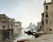 Venice - Gondola on the Grand Canal', October 1892. Oil on canvas.   Emmanuel Lansyer (1835-1893) French landscape painter.  View looking towards La Salute. Italy  Water