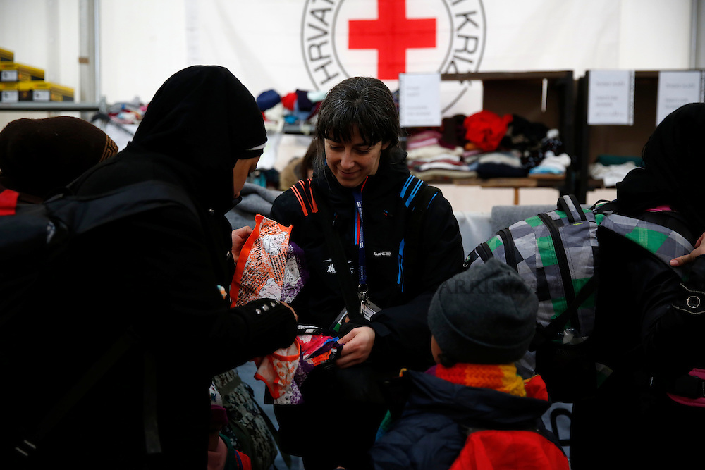 Migrants and refugees at transit camp in Slavonski Brod