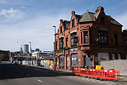 Local atmosphere due to Coronavirus lockdown is felt on a street by street level as streets remain deserted in Digbeth outside the closed down White Swan pub as people observe the stay at home advice from the government on 7th April 2020 in Birmingham, England, United Kingdom. Coronavirus or Covid-19 is a new respiratory illness that has not previously been seen in humans. While much or Europe has been placed into lockdown, the UK government has announced more stringent rules as part of their long term strategy, and in particular social distancing.