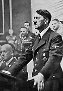 Adolph Hitler addressing a sitting of the German Reichstag on 3 September 1939, the day on which Great Britain and France declared war on Germany in response to the German invasion of Poland on 2 September .