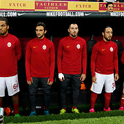 Galatasaray's (L-R) goalkeeper Cenk Gonen, Jason Denayer, Jem Karacan, Sinan Gumus, Tarik Camdal, Emre Colak, Umut Bulut during their Turkish Super League soccer match Galatasaray between Mersin idman Yurdu at the AliSamiYen Spor Kompleksi TT Arena at Seyrantepe in Istanbul Turkey on Saturday, 12 September 2015. Photo by Kurtulus YILMAZ/TURKPIX