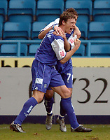 Picture: Henry Browne.<br /> Date: 26/02/2005.<br /> Gillingham v Wigan Athletic Coca Cola Championship.<br /> Darius Henderson celebrates after scoring his second goal for Gills.