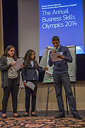 Purchase, NY – 31 October 2014. The team from Yonkers Montessori Academy giving their presentation. (Left to right: Samantha Valenti, Naira Luke-Aleman, Edward Ortiz.) The Business Skills Olympics was founded by the African American Men of Westchester, is sponsored and facilitated by Morgan Stanley, and is open to high school teams in Westchester County.